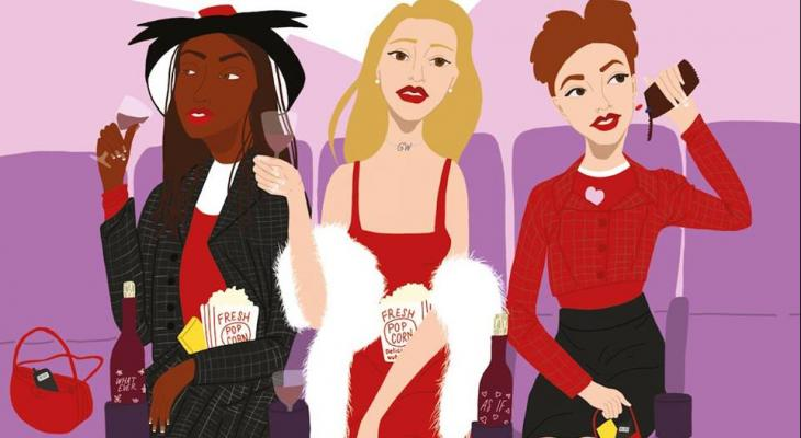 Cartoon drawing of the characters from Clueless (1995): Dionne, Cher and Tai
