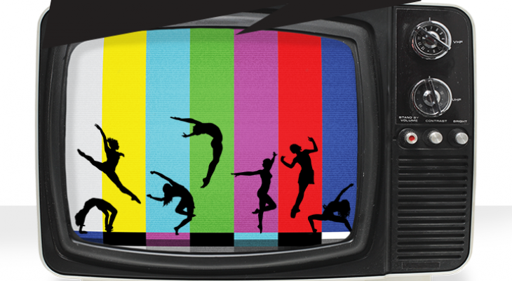 "An old fashioned TV with the screen split into coloured bars, each bar showing silouettes of dancers in mid-jump. Above the TV are the words ""Tune In""."