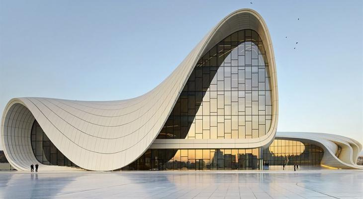Abstract building with a curved roof