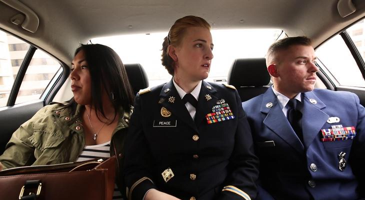Three film subjects from TransMilitary doc in a car