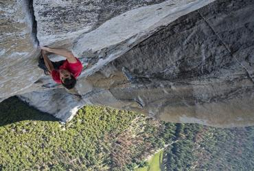 Alex Honnold climbing El Capitan in Yosemite National Park