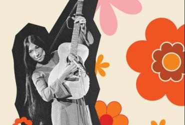 "alt=""Graphic with a cutout of Buffy St Marie on top of a cream background covered in orange flowers"""