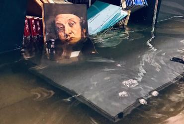 Painting and other artifacts immersed in water after the Venice floods of 2019.