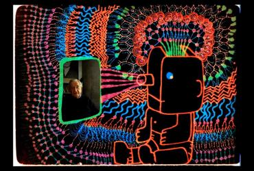 Noam Chomsky and a robot/projector person