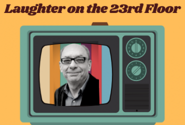 An old-fashioned television with dials on an orange background and lecturer Jack Newman on the screen. With text Laughter on the 23rd Floor