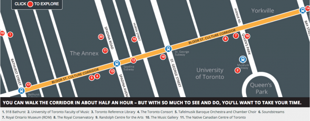 First Bloor St. Culture Corridor Map